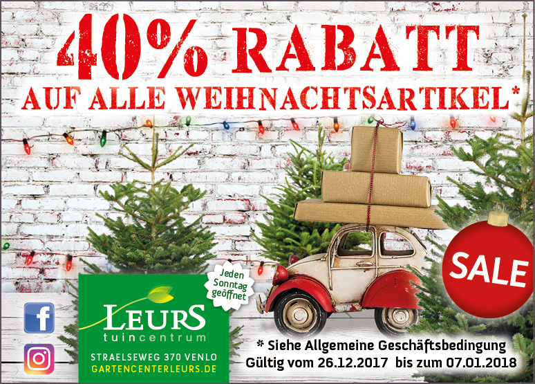 weihnachts sale 40 rabatt aktivit ten gartencenter leurs venlo holland. Black Bedroom Furniture Sets. Home Design Ideas